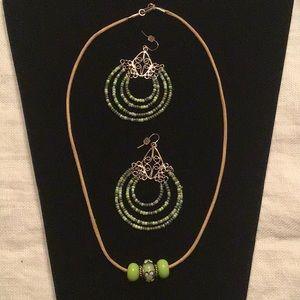 Jewelry - Boho Style Beaded 💚 Earrings & Necklace